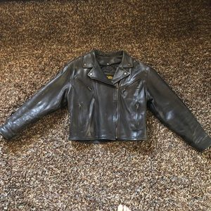 Unik Ultra Black Leather Biker Jacket Size Medium